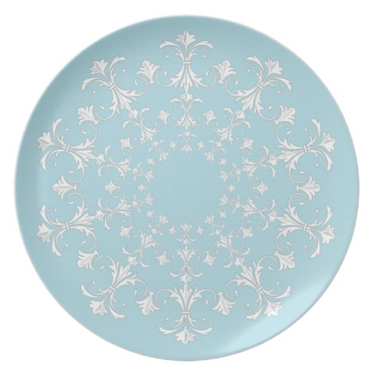 """Stylish Designs"" Blue & White-Wreath Plate"