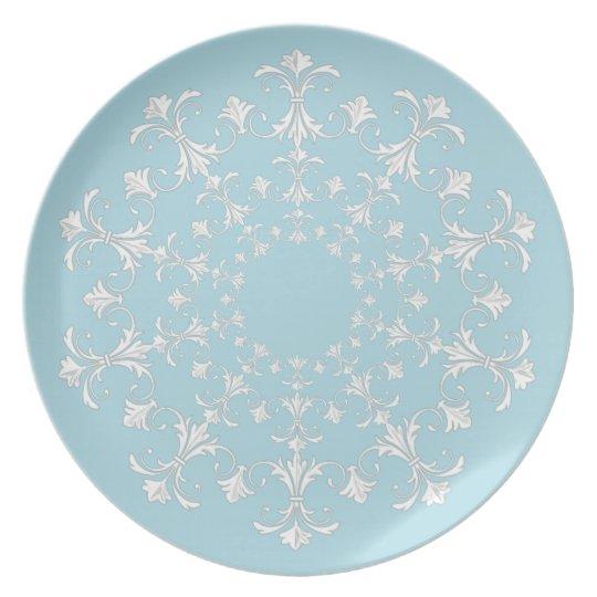 """Stylish Designs"" Blue & White-Wreath Plate"