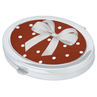 """Stylish Designs""  Oval-Red-White Dots  & Bow Compact Mirror"