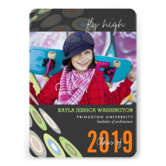 Stylish Digital Butterfly Graduation Photo Party Invites