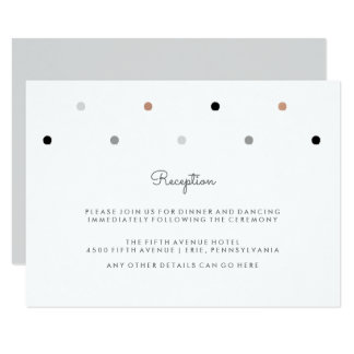 Stylish Dots   Faux Rose Gold and Gray Reception 9 Cm X 13 Cm Invitation Card