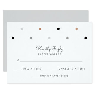 Stylish Dots   Faux Rose Gold and Gray RSVP 9 Cm X 13 Cm Invitation Card