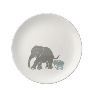 Stylish Earthy Colors Elephant Mother and Baby Plate