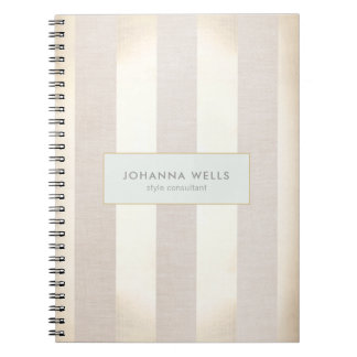 Stylish Elegant Beige Linen and Gold Striped Spiral Notebook