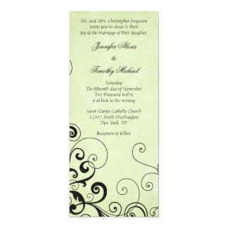 "Stylish elegant black swirls wedding invitation 4"" x 9.25"" invitation card"