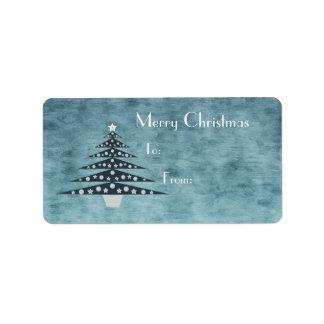 Stylish & Elegant Blue Christmas Tree Address Label