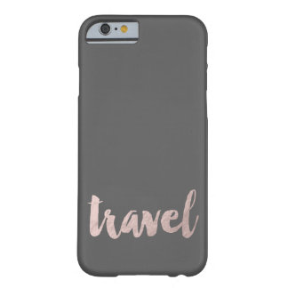 "stylish elegant faux rose gold text ""travel"" barely there iPhone 6 case"