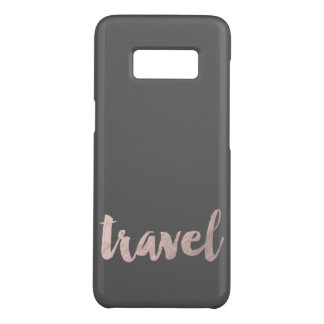 "stylish elegant faux rose gold text ""travel"" Case-Mate samsung galaxy s8 case"