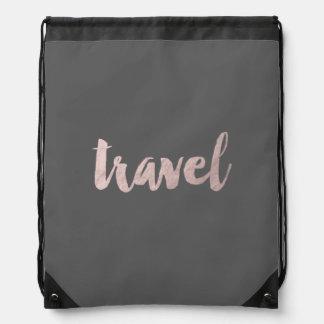 "stylish elegant faux rose gold text ""travel"" drawstring bag"