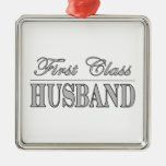 Stylish Elegant Husbands : First Class Husband Silver-Colored Square Decoration