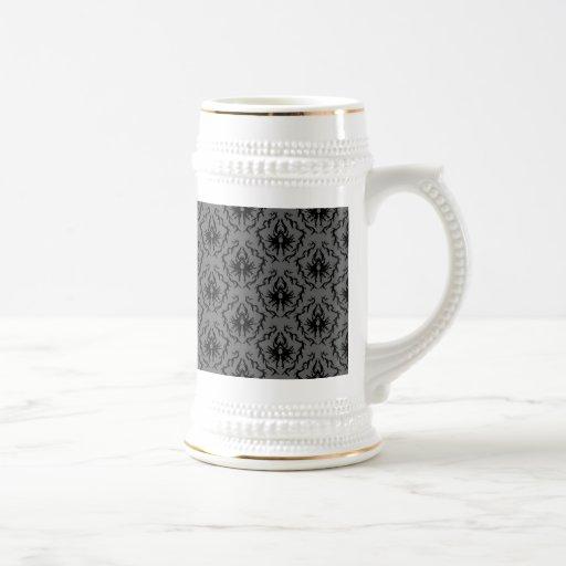 Stylish elegant pattern. Black and Gray Damask. Coffee Mug