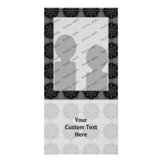 Stylish elegant pattern. Black and Gray. Photo Cards