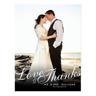 Stylish Elegant Script Modern Love Thanks Postcard