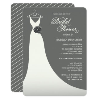 Stylish Elegant Wedding Gown Bridal Shower Invite