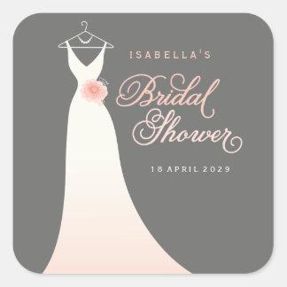 Stylish Elegant Wedding Gown Bridal Shower Sticker