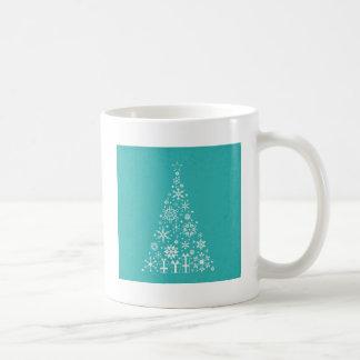 Stylish elegant white and teal Christmas tree Coffee Mug