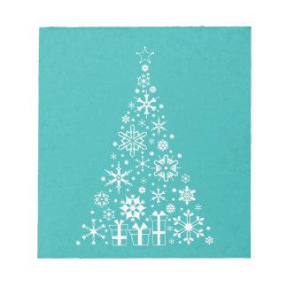 Stylish elegant white and teal Christmas tree Notepad