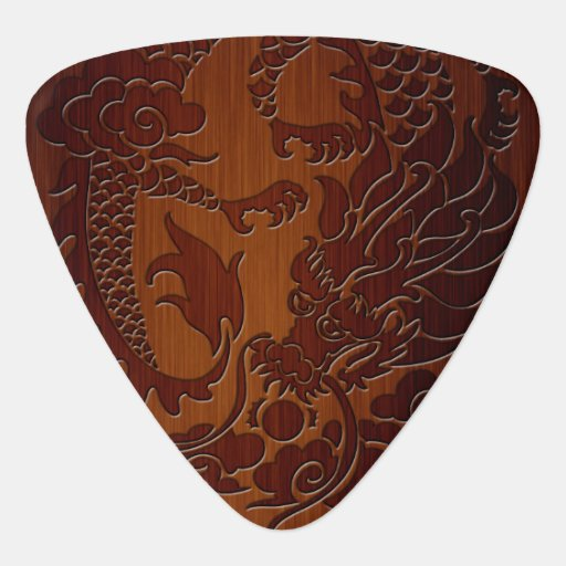 Stylish Engraved Dragon Tattoo in wood Look Guitar Pick