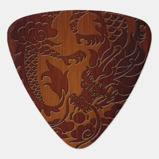 Stylish Engraved Dragon Tattoo in wood Look Plectrum