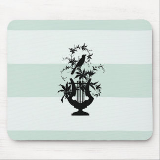 Stylish-Estate-Celadon-Stripe-Bird-Emblem Mouse Pad