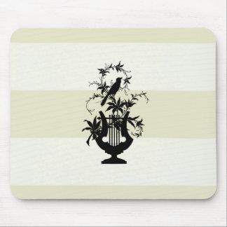 Stylish-Estate-Cream-Stripe-Bird-Emblem Mouse Pad