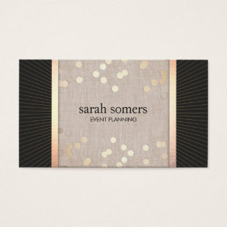 Stylish Event Planner Chic Gold Confetti Linen Business Card