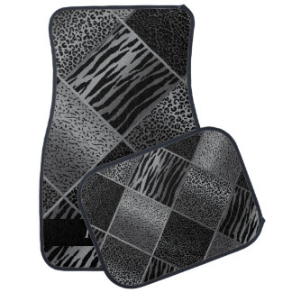 Stylish Exotic Animal Patterns | Gray & Black Car Mat