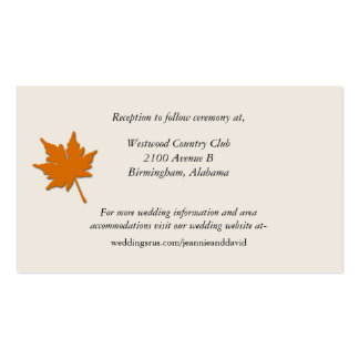 Stylish Fall Wedding Enclosure Card Business Card