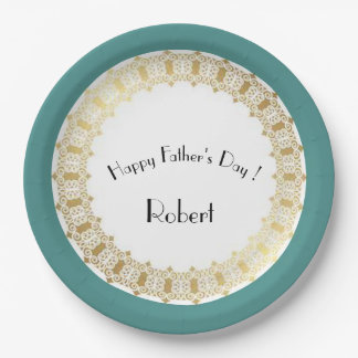 Stylish-Father's-Day_Medieval-Gold-Shield-Blue* Paper Plate