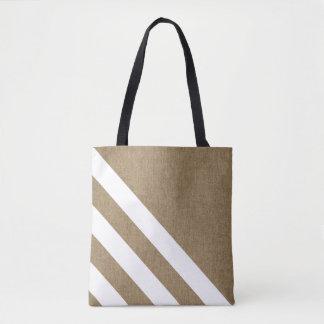 Stylish Faux Burlap White Stripes Tote Bag