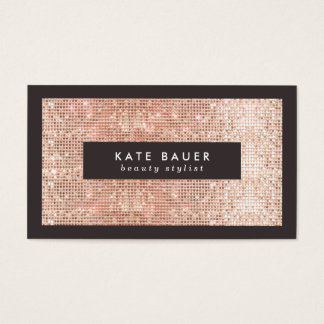 Stylish Faux Copper Sequin Beauty and Fashion Business Card