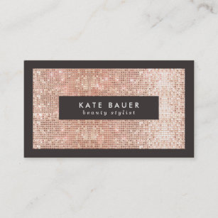 Fun business cards zazzle au stylish faux copper sequin beauty and fashion business card reheart Gallery