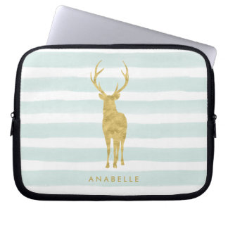 Stylish Faux Gold Foil Deer on Mint Stripes Laptop Sleeves