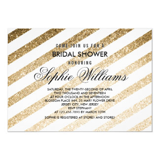 Stylish Faux Gold Glitter Bridal Shower Invitation