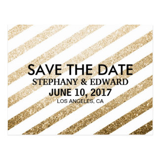 Stylish Faux Gold Glitter Save the Date Postcard