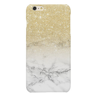 Stylish faux gold glitter white marble color block