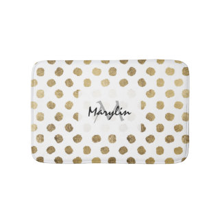 Stylish  faux gold leaf polka dots brushstrokes bath mats