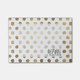 Stylish  faux gold leaf polka dots brushstrokes post-it notes