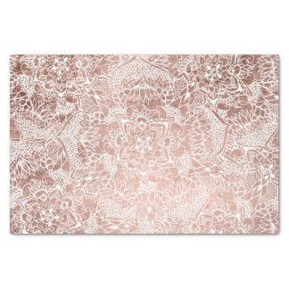 Stylish faux rose gold floral mandala illustration tissue paper