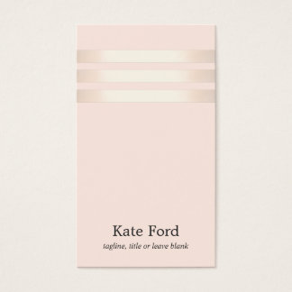 Stylish Faux Rose Gold Striped Light Pink 2 Business Card