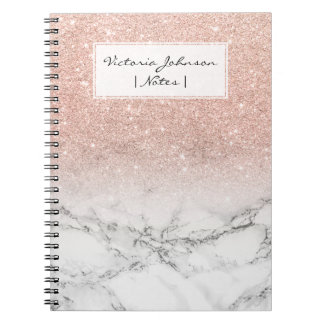 Stylish faux rose pink glitter ombre white marble spiral notebooks