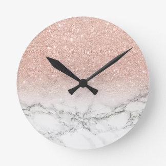 Stylish faux rose pink glitter ombre white marble wallclock