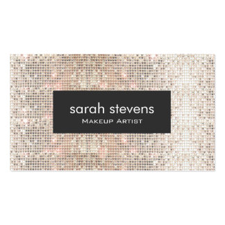Stylish Faux Silver Sequins Beauty Fashion Retro Double-Sided Standard Business Cards (Pack Of 100)