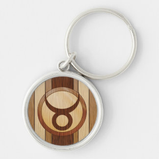 Stylish Faux Wood Taurus Zodiac Symbol Silver-Colored Round Key Ring