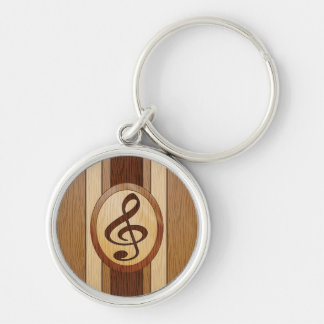 Stylish Faux Wood Treble Clef Inlay Silver-Colored Round Keychain