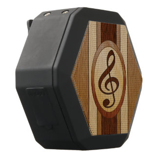 Stylish Faux wood with inlay treble clef Black Boombot Rex Bluetooth Speaker