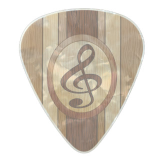 Stylish Faux wood with inlay treble clef Pearl Celluloid Guitar Pick