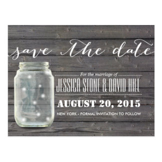 Stylish Fireflies & Mason Jar Wood Save the Date Postcard