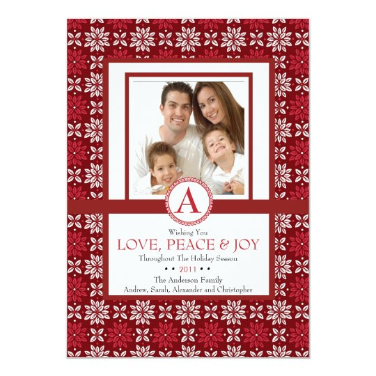 Stylish Floral Christmas Photo Card Red