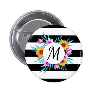 Stylish Floral Wreath Black Stripes Monogram 6 Cm Round Badge